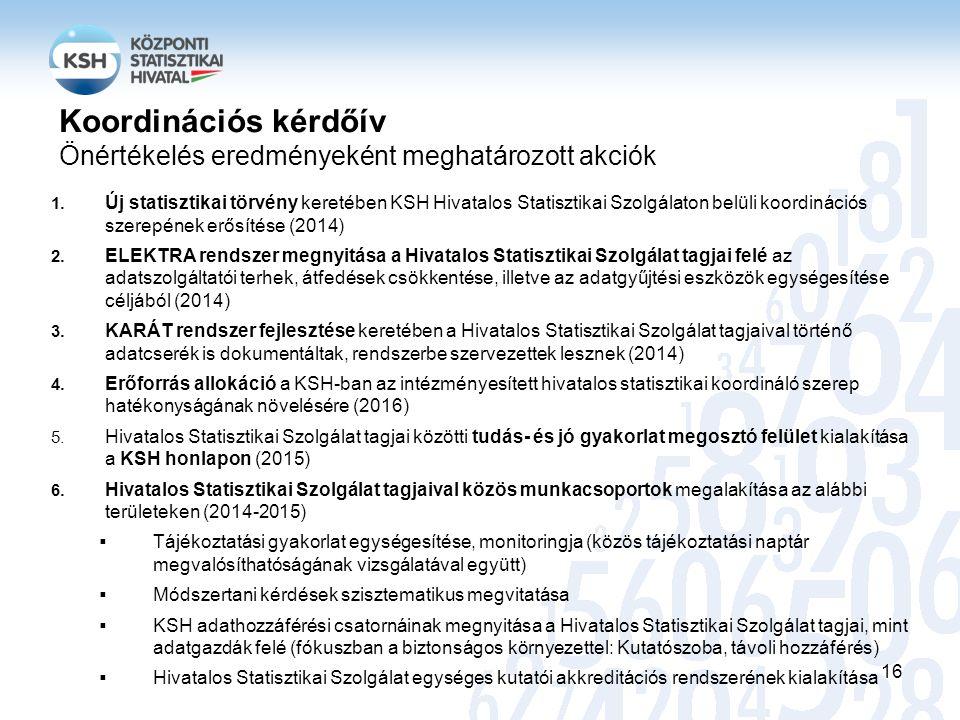 1. Új statisztikai törvény keretében KSH Hivatalos Statisztikai Szolgálaton belüli koordinációs szerepének erősítése (2014) 2. ELEKTRA rendszer megnyi