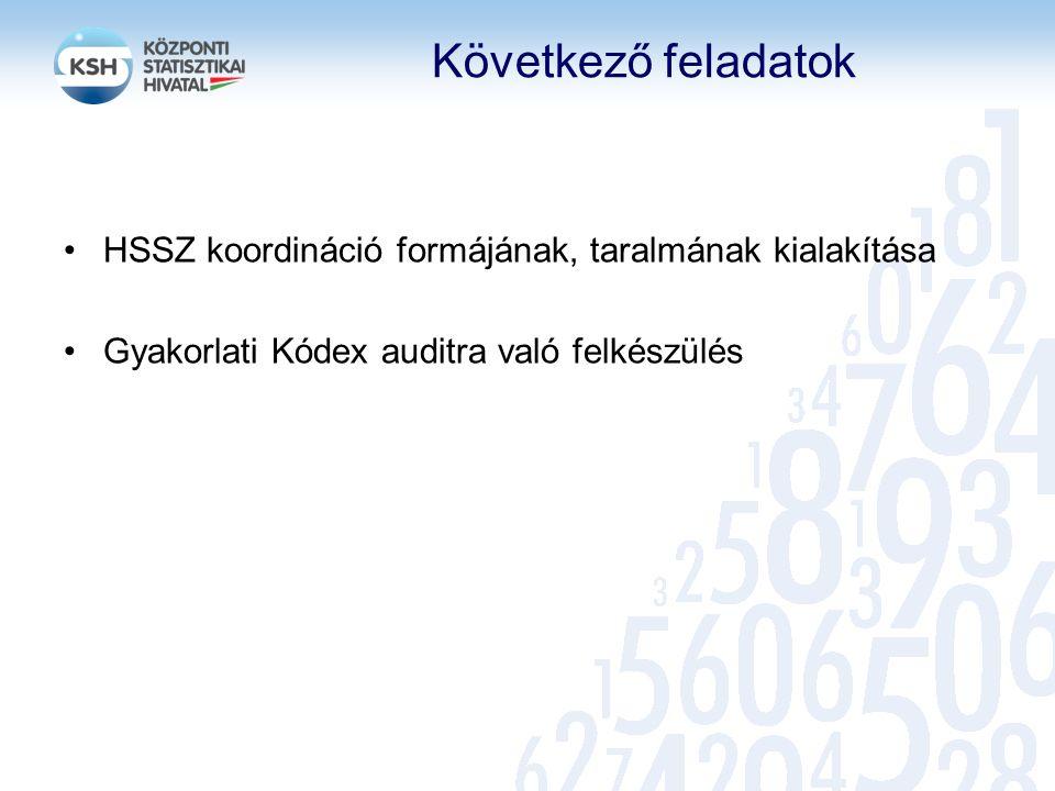 Következő feladatok HSSZ koordináció formájának, taralmának kialakítása Gyakorlati Kódex auditra való felkészülés