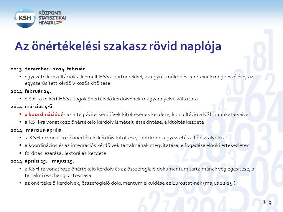  9 Az önértékelési szakasz rövid naplója 2013.december – 2014.