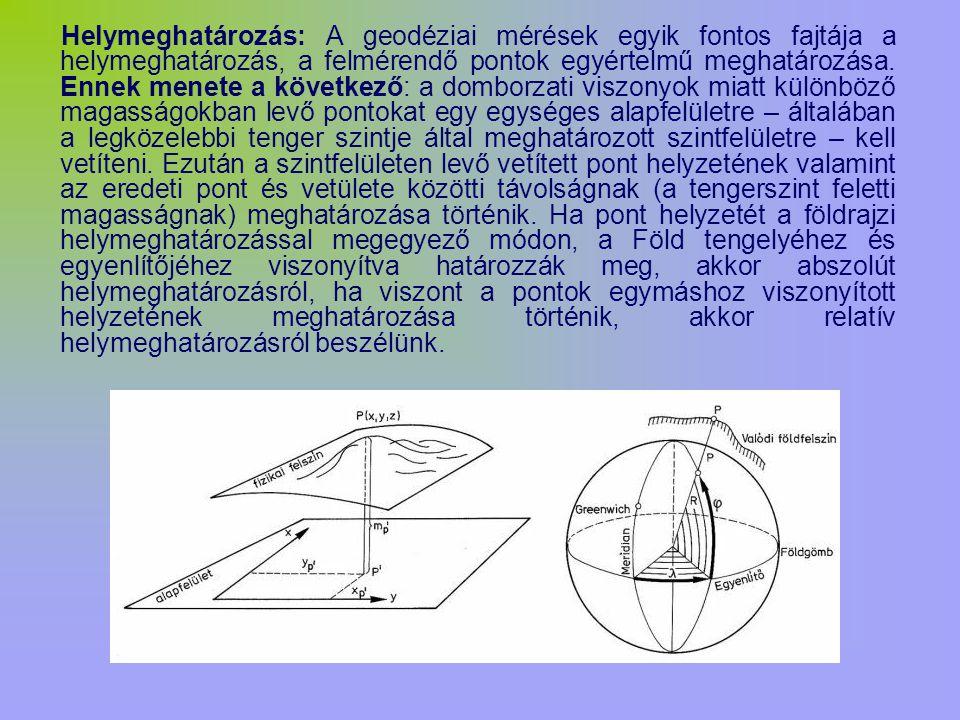 Helymeghatározás: A geodéziai mérések egyik fontos fajtája a helymeghatározás, a felmérendő pontok egyértelmű meghatározása. Ennek menete a következő: