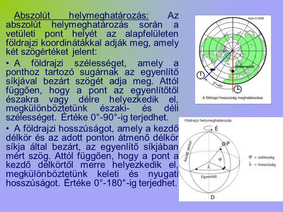 Abszolút helymeghatározás: Az abszolút helymeghatározás során a vetületi pont helyét az alapfelületen földrajzi koordinátákkal adják meg, amely két sz