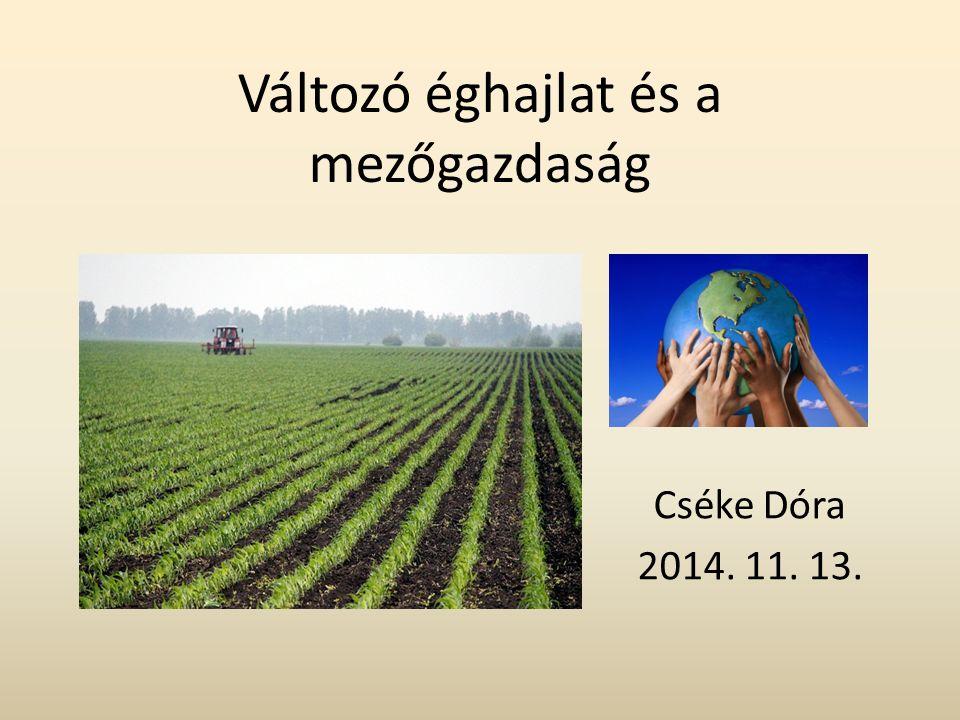 Változó éghajlat és a mezőgazdaság Cséke Dóra 2014. 11. 13.
