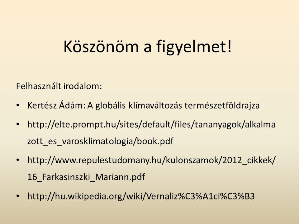 Köszönöm a figyelmet! Felhasznált irodalom: Kertész Ádám: A globális klímaváltozás természetföldrajza http://elte.prompt.hu/sites/default/files/tanany