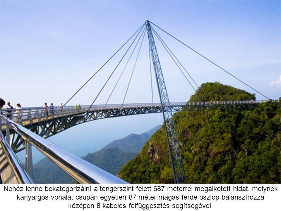Nehéz lenne bekategorizálni a tengerszint felett 687 méterrel megalkotott hidat, melynek kanyargós vonalát csupán egyetlen 87 méter magas ferde oszlop