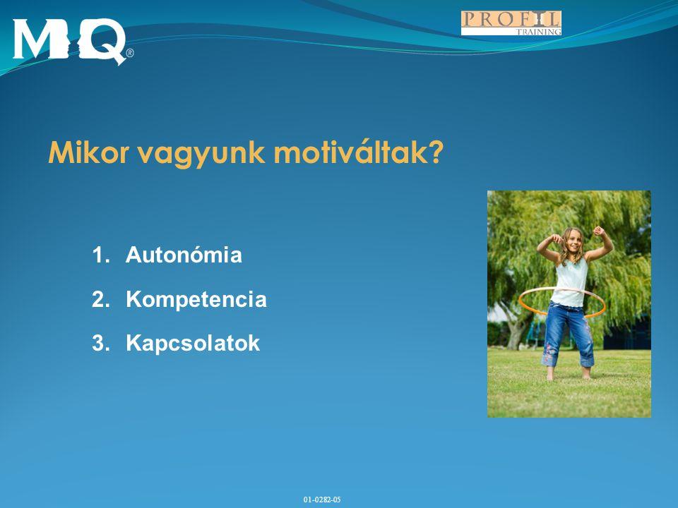 01-0282-05 Mikor vagyunk motiváltak? 1.Autonómia 2.Kompetencia 3.Kapcsolatok