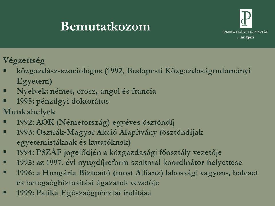 A Patika-csoport  1999: Patika Egészségpénztár  2006: Új Pillér Egészségpénztár  2007: Tradíció Nyugdíjpénztár  100 ezer ügyfél  fennállásunk óta 17 milliárd forint bevétel, 12 milliárd forint szolgáltatás  2008.