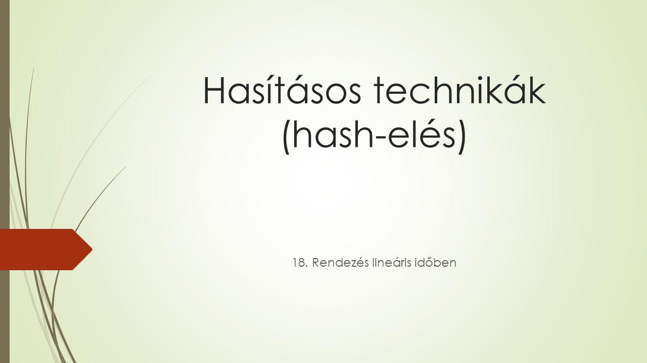 Hasításos technikák (hash-elés) 18. Rendezés lineáris időben