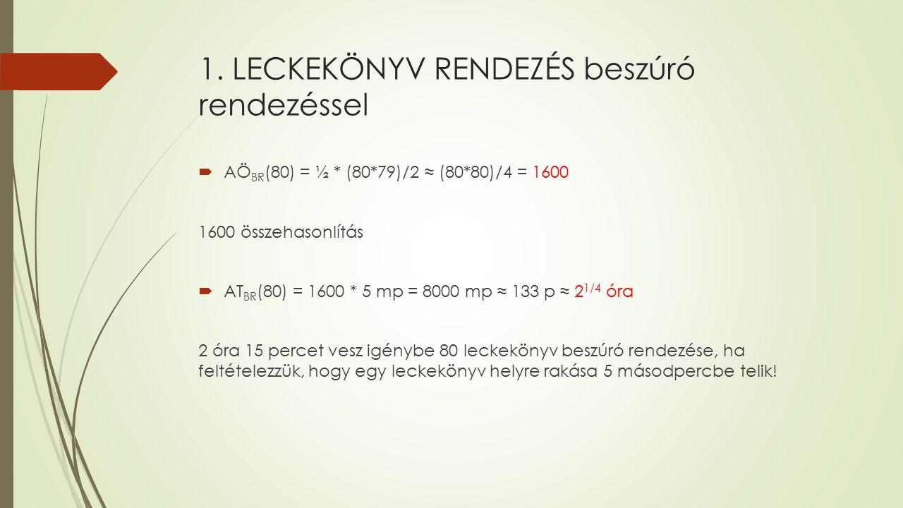 1. LECKEKÖNYV RENDEZÉS beszúró rendezéssel  AÖ BR (80) = ½ * (80*79)/2 ≈ (80*80)/4 = 1600 1600 összehasonlítás  AT BR (80) = 1600 * 5 mp = 8000 mp ≈