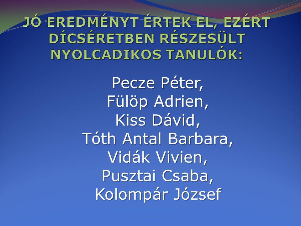 Pecze Péter, Fülöp Adrien, Kiss Dávid, Tóth Antal Barbara, Vidák Vivien, Pusztai Csaba, Kolompár József
