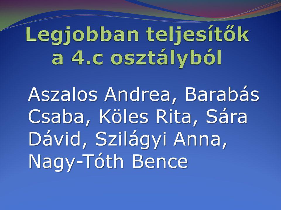 Aszalos Andrea, Barabás Csaba, Köles Rita, Sára Dávid, Szilágyi Anna, Nagy-Tóth Bence