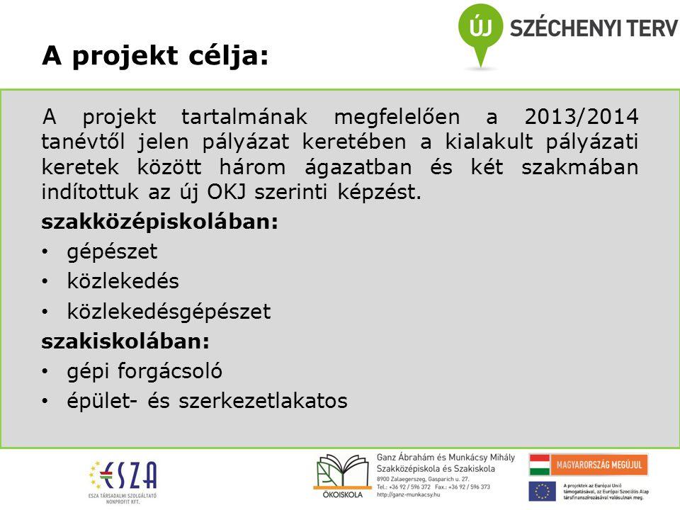 A projekt tartalmának megfelelően a 2013/2014 tanévtől jelen pályázat keretében a kialakult pályázati keretek között három ágazatban és két szakmában indítottuk az új OKJ szerinti képzést.