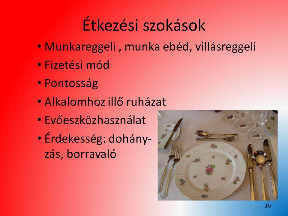 Étkezési szokások Munkareggeli, munka ebéd, villásreggeli Fizetési mód Pontosság Alkalomhoz illő ruházat Evőeszközhasználat Érdekesség: dohány- zás, b