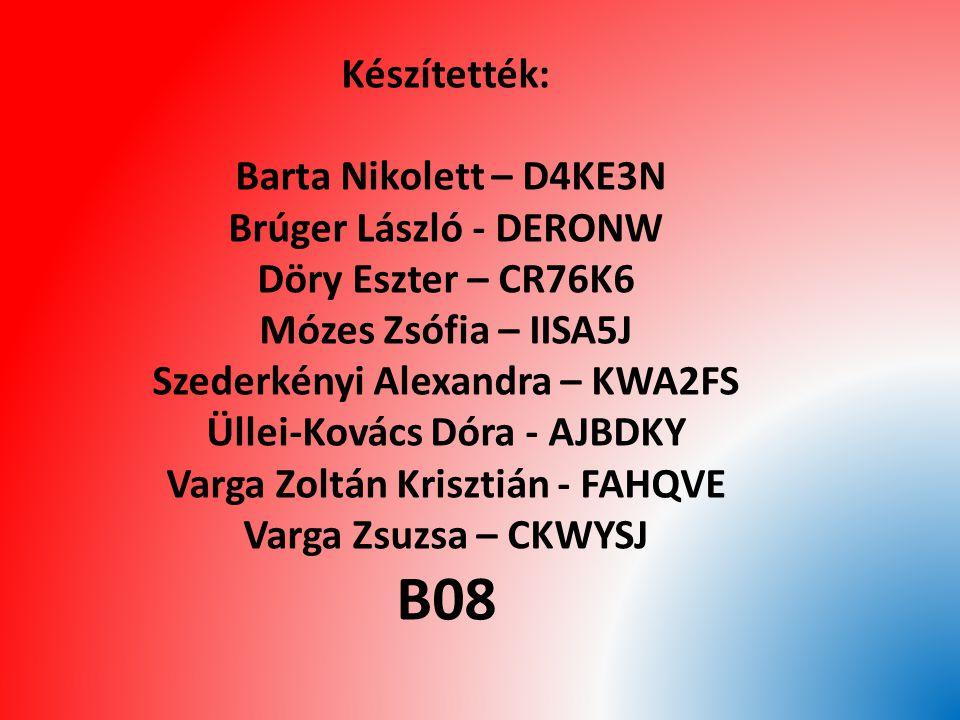 Készítették: Barta Nikolett – D4KE3N Brúger László - DERONW Döry Eszter – CR76K6 Mózes Zsófia – IISA5J Szederkényi Alexandra – KWA2FS Üllei-Kovács Dór