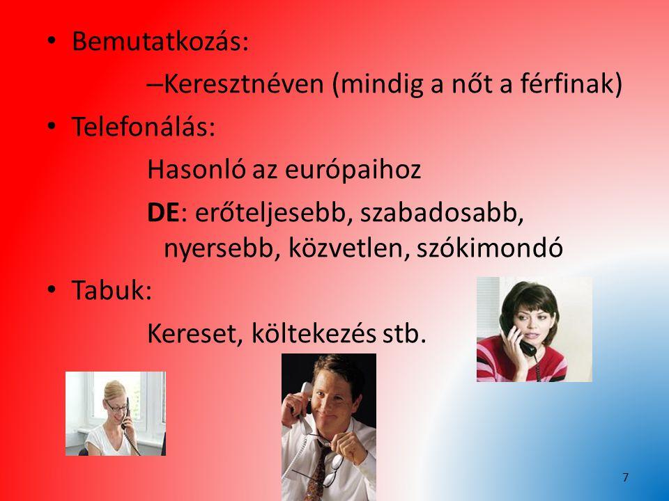 Bemutatkozás: – Keresztnéven (mindig a nőt a férfinak) Telefonálás: Hasonló az európaihoz DE: erőteljesebb, szabadosabb, nyersebb, közvetlen, szókimon