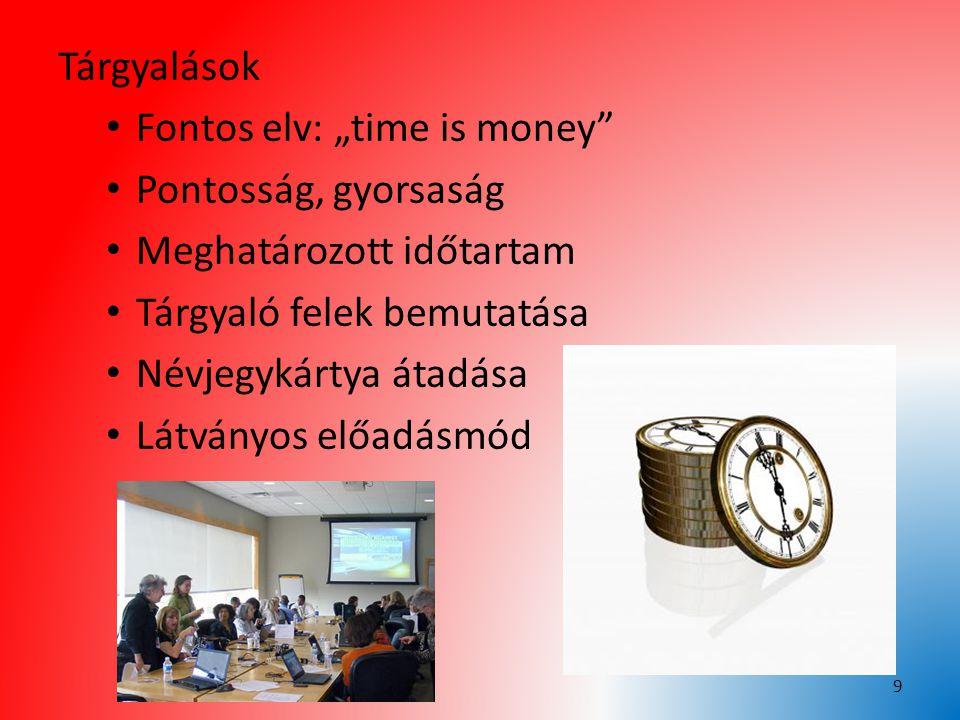"""Tárgyalások Fontos elv: """"time is money"""" Pontosság, gyorsaság Meghatározott időtartam Tárgyaló felek bemutatása Névjegykártya átadása Látványos előadás"""
