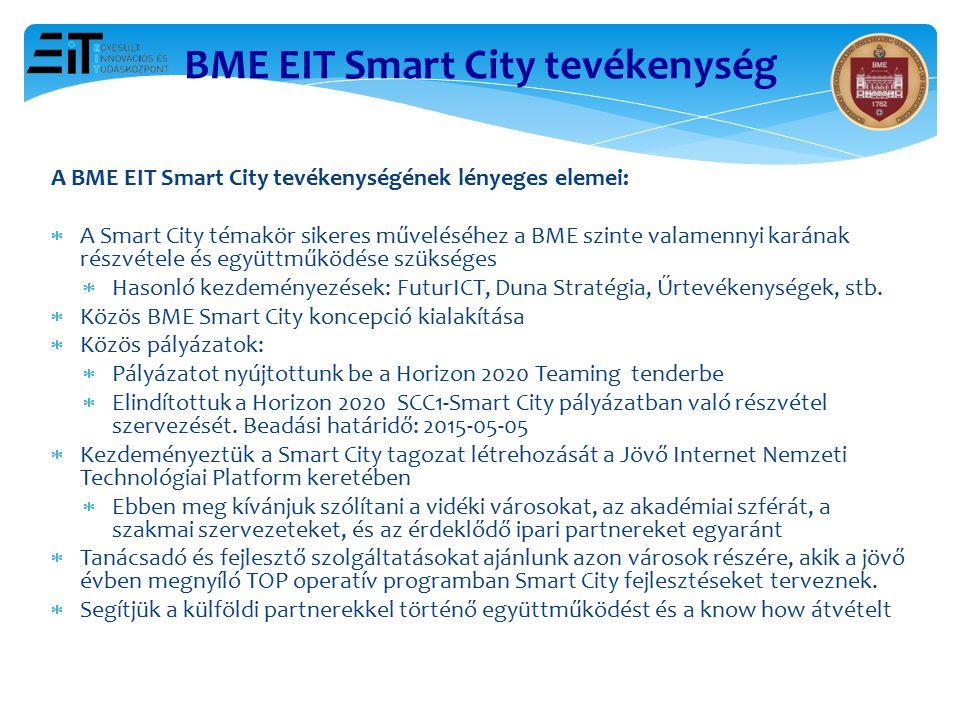BME EIT Smart City tevékenység A BME EIT Smart City tevékenységének lényeges elemei:  A Smart City témakör sikeres műveléséhez a BME szinte valamenny