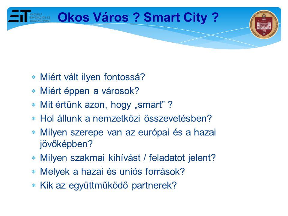 """ Miért vált ilyen fontossá?  Miért éppen a városok?  Mit értünk azon, hogy """"smart"""" ?  Hol állunk a nemzetközi összevetésben?  Milyen szerepe van"""
