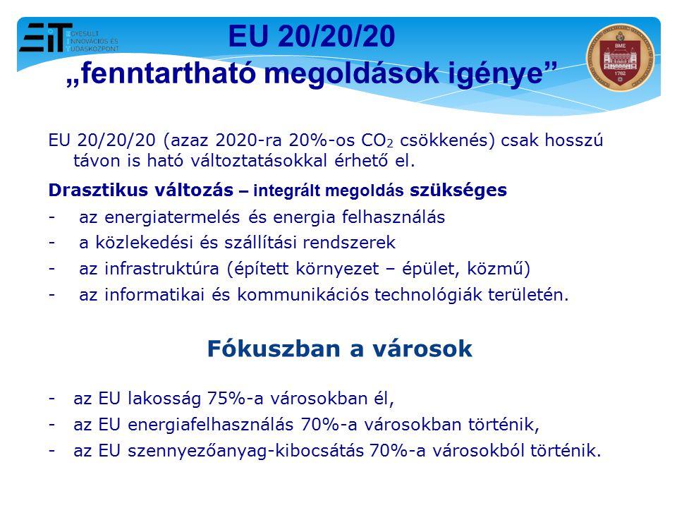 """EU 20/20/20 """"fenntartható megoldások igénye"""" EU 20/20/20 (azaz 2020-ra 20%-os CO 2 csökkenés) csak hosszú távon is ható változtatásokkal érhető el. Dr"""