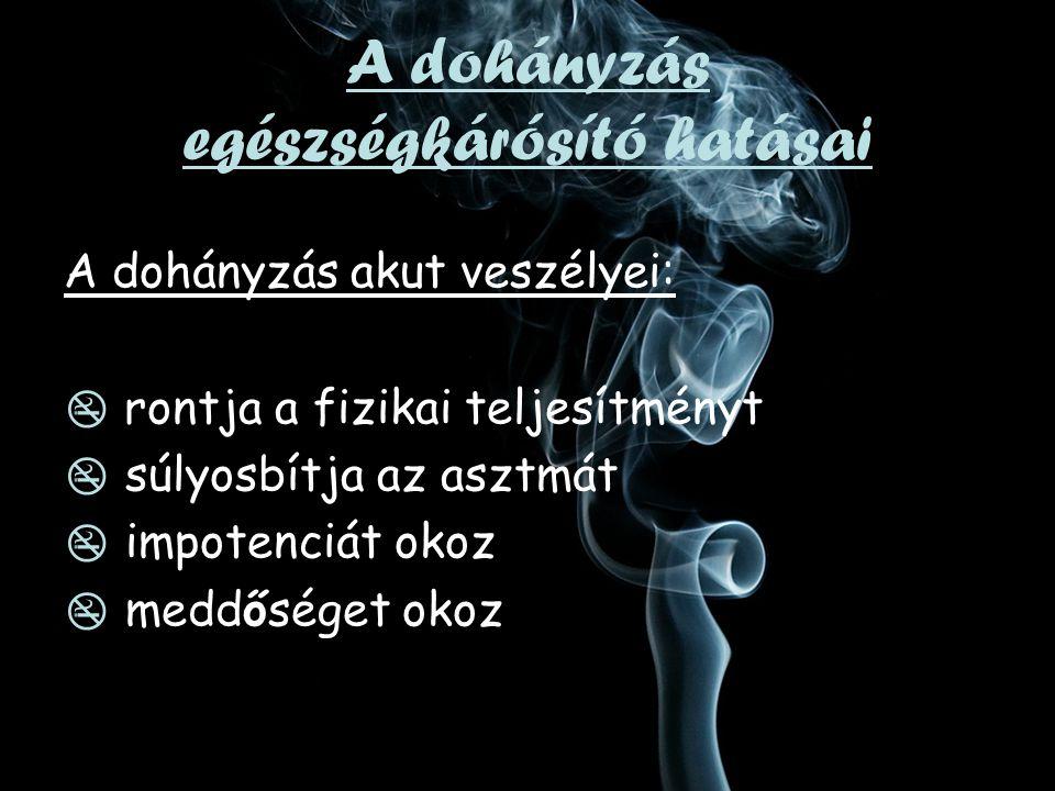 A dohányzás krónikus veszélyei:  szívroham és gutaütés  daganatos megbetegedések  tüdő, száj, garat, gége, nyelőcső, hasnyálmirigy, húgyhólyag, méhnyak, leukémia  idült hörghurut, tüdőtágulat  magzati károsodások  érszűkület  gyomorfekély