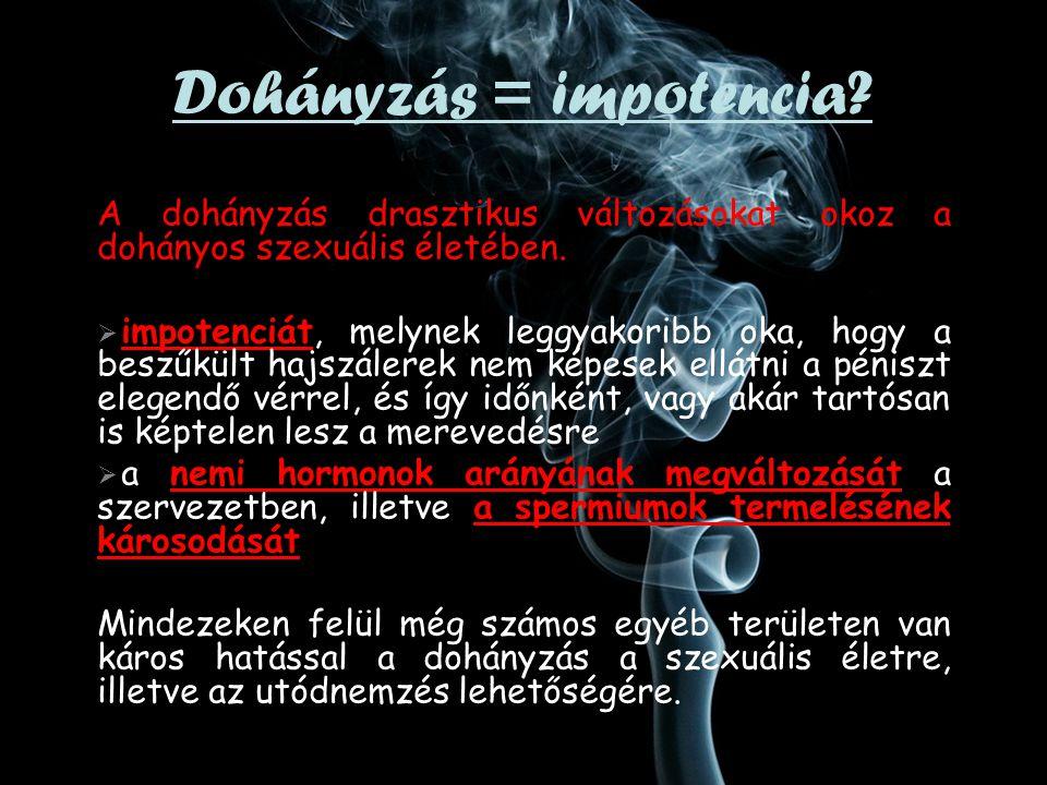 A dohányzás drasztikus változásokat okoz a dohányos szexuális életében.