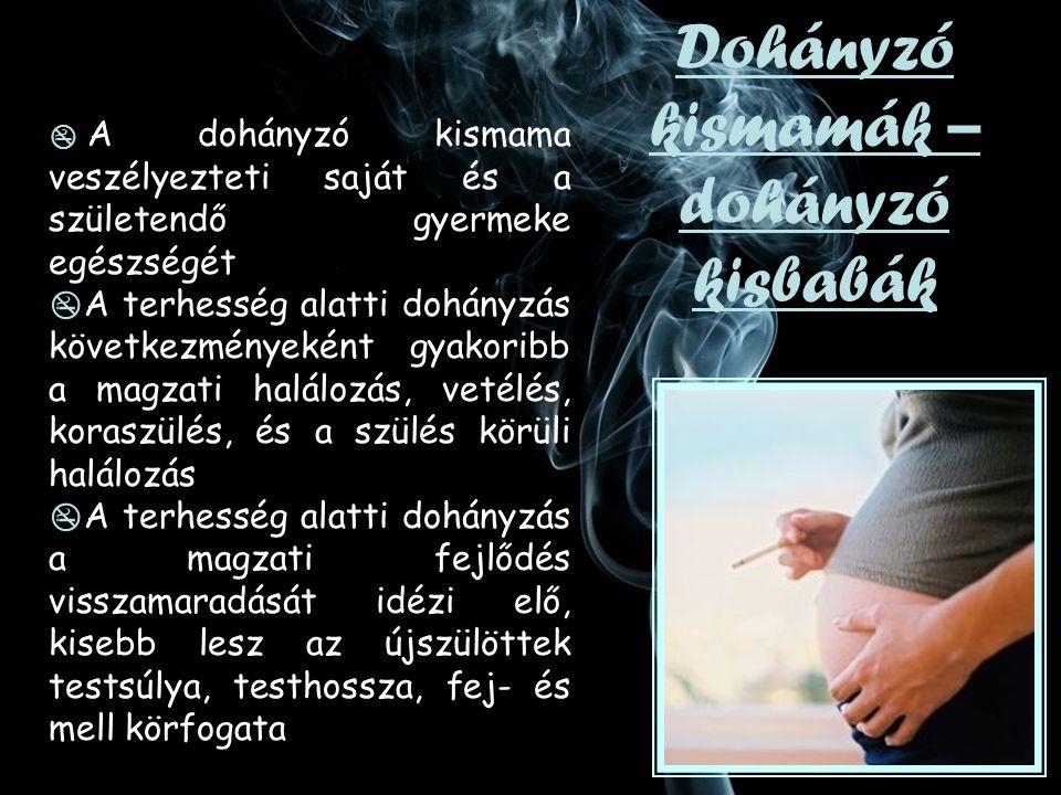  A dohányzó kismama veszélyezteti saját és a születendő gyermeke egészségét  A terhesség alatti dohányzás következményeként gyakoribb a magzati halálozás, vetélés, koraszülés, és a szülés körüli halálozás  A terhesség alatti dohányzás a magzati fejlődés visszamaradását idézi elő, kisebb lesz az újszülöttek testsúlya, testhossza, fej- és mell körfogata Dohányzó kismamák – dohányzó kisbabák