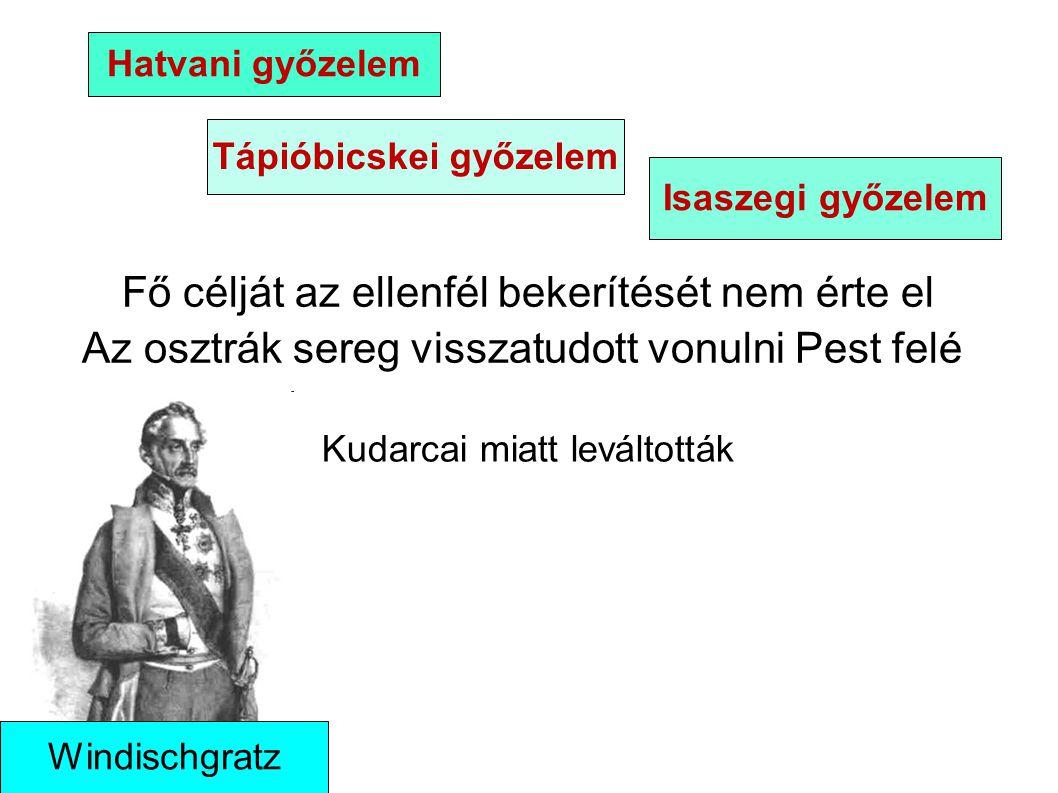 Fő célját az ellenfél bekerítését nem érte el Az osztrák sereg visszatudott vonulni Pest felé Hatvani győzelem Tápióbicskei győzelem Isaszegi győzelem