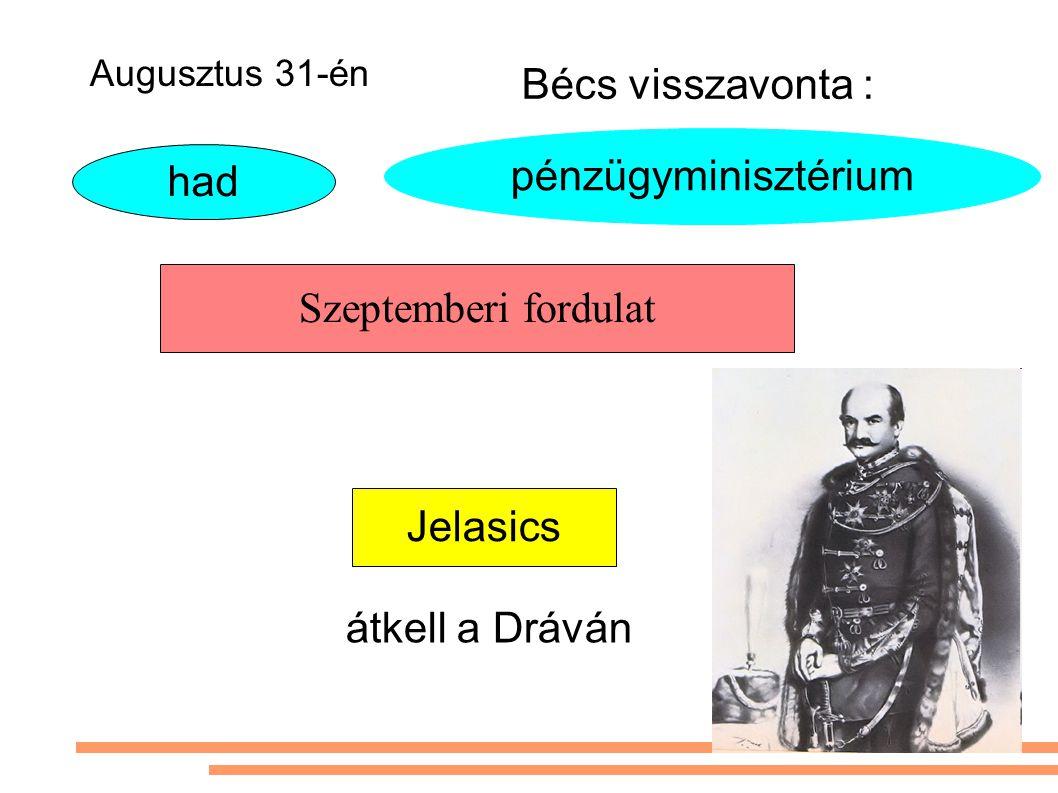 Szeptemberi fordulat Jelasics pénzügyminisztérium Bécs visszavonta : had átkell a Dráván Augusztus 31-én