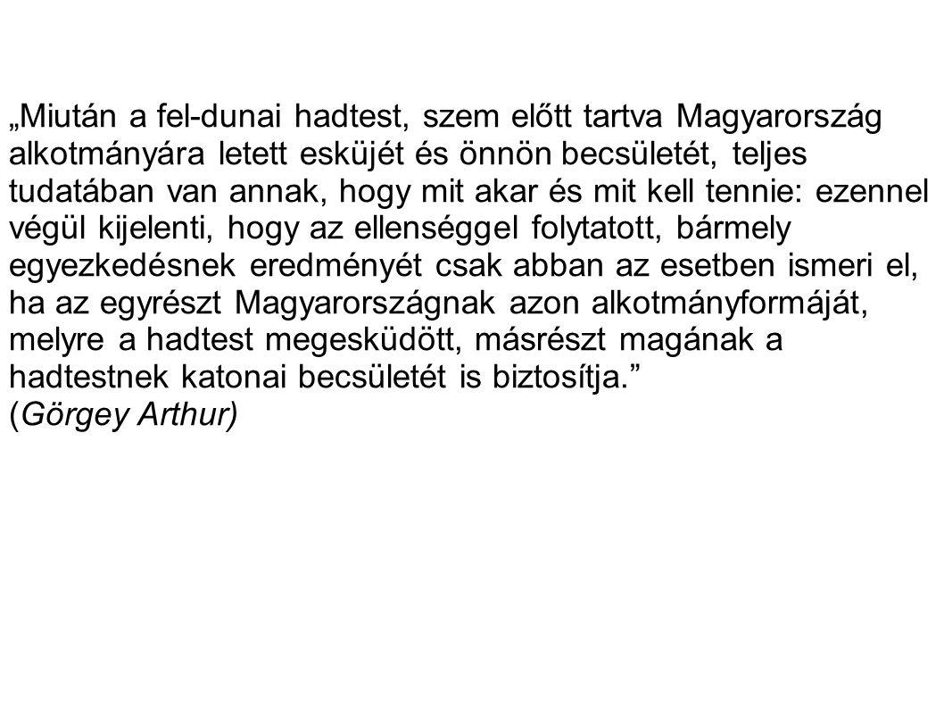 """""""Miután a fel-dunai hadtest, szem előtt tartva Magyarország alkotmányára letett esküjét és önnön becsületét, teljes tudatában van annak, hogy mit akar"""