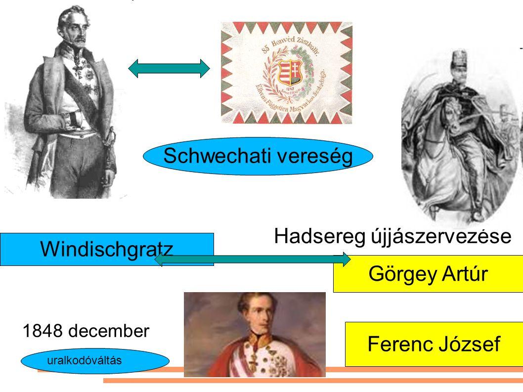 Görgey Artúr Schwechati vereség Hadsereg újjászervezése Windischgratz Ferenc József 1848 december uralkodóváltás