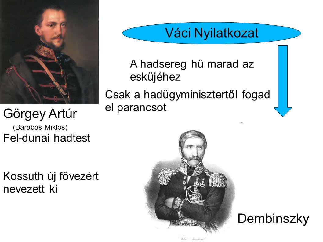 Görgey Artúr (Barabás Miklós) Dembinszky Váci Nyilatkozat Fel-dunai hadtest A hadsereg hű marad az esküjéhez Csak a hadügyminisztertől fogad el paranc