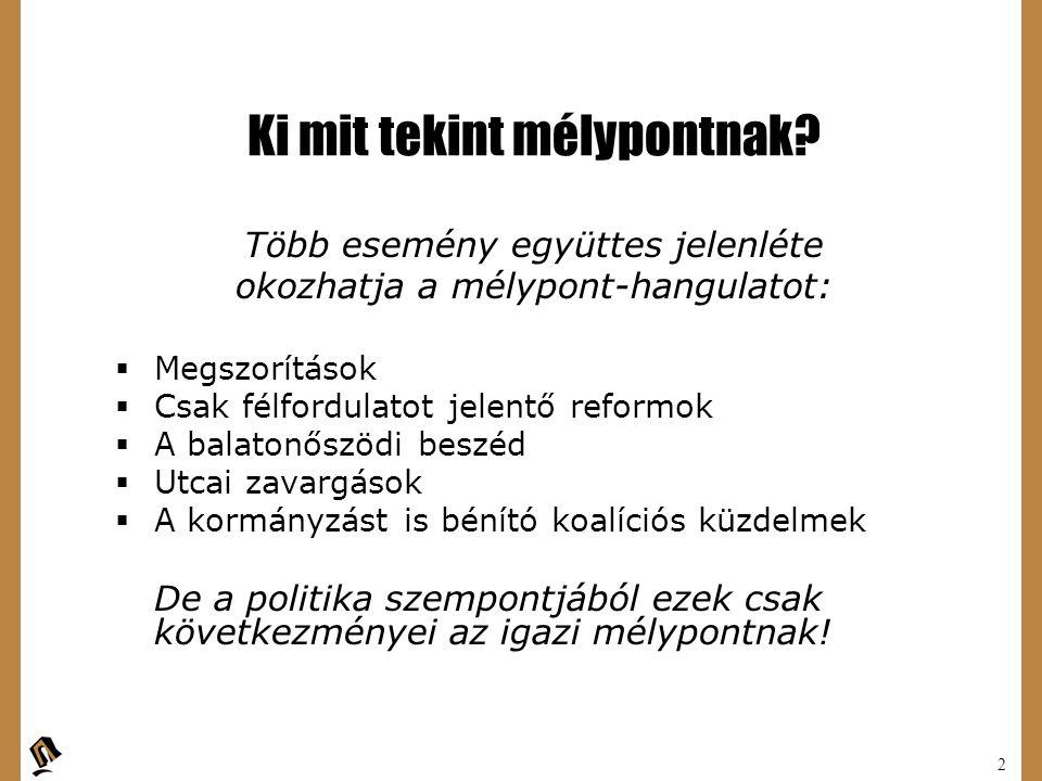 3 A politika mélypontja: A politikai mélypont okai:  Pártstratégiák  Politikai vezérek stratégiája  A stratégiák által teremtett politikai csapdahelyzet Ezek a tényezők határozzák meg a megszorítások, reformok politikai környezetét