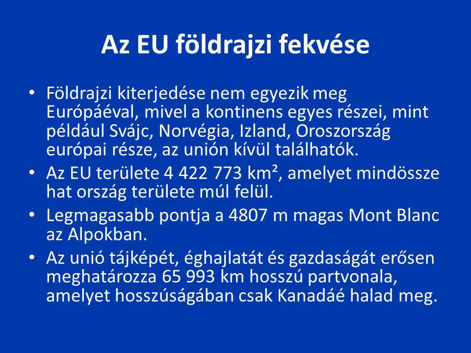 Az EU földrajzi fekvése Földrajzi kiterjedése nem egyezik meg Európáéval, mivel a kontinens egyes részei, mint például Svájc, Norvégia, Izland, Oroszo