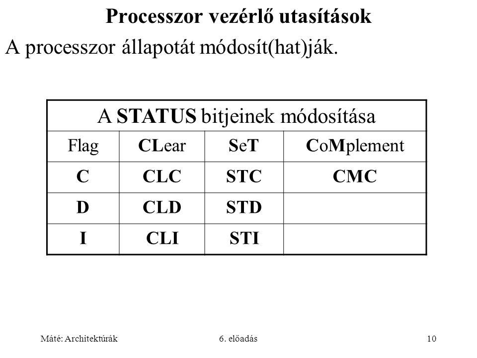 Máté: Architektúrák6. előadás10 Processzor vezérlő utasítások A processzor állapotát módosít(hat)ják. A STATUS bitjeinek módosítása FlagCLearSeTSeTCoM