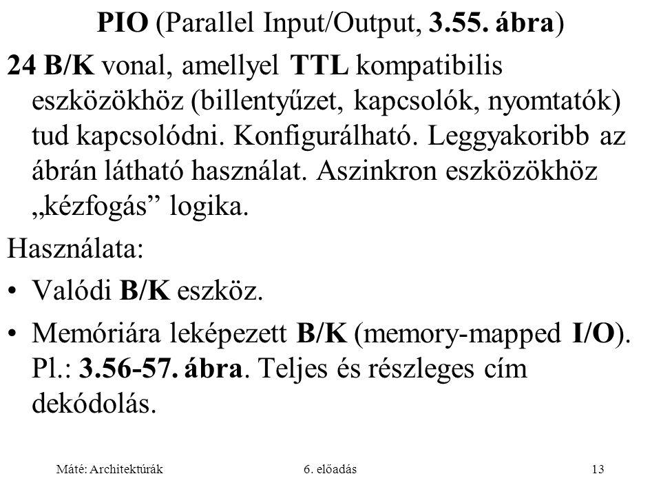 Máté: Architektúrák6. előadás13 PIO (Parallel Input/Output, 3.55. ábra) 24 B/K vonal, amellyel TTL kompatibilis eszközökhöz (billentyűzet, kapcsolók,