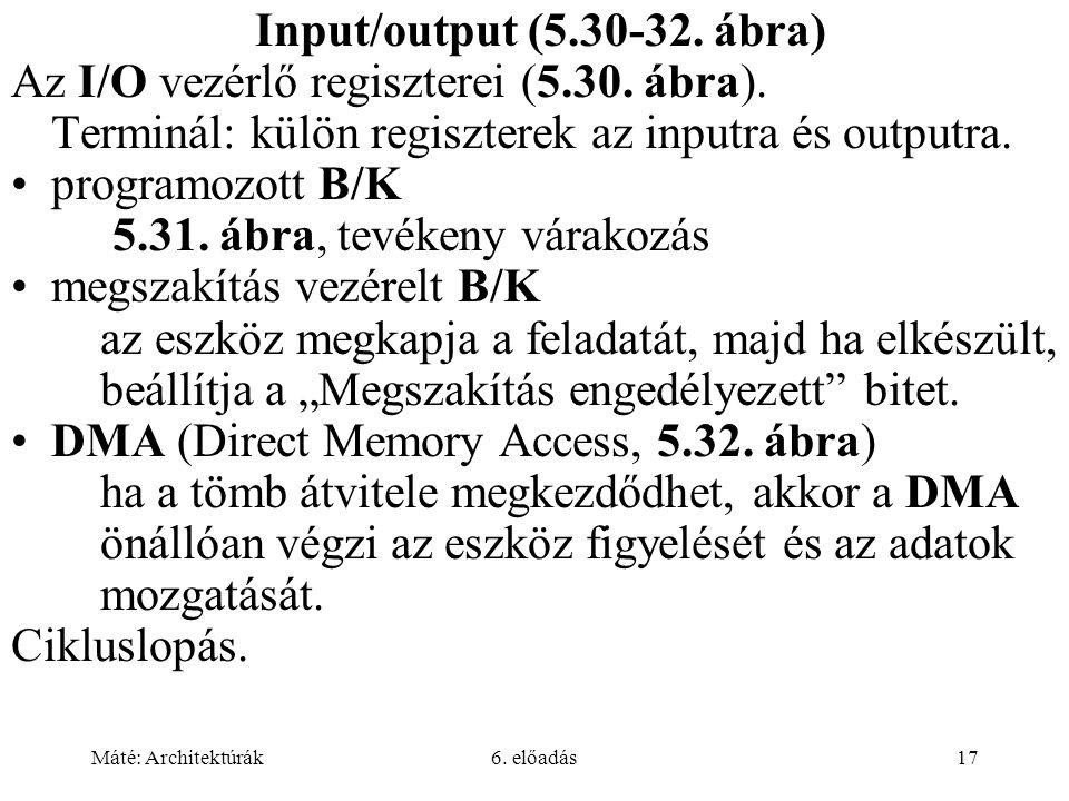 Máté: Architektúrák6. előadás17 Input/output (5.30-32.