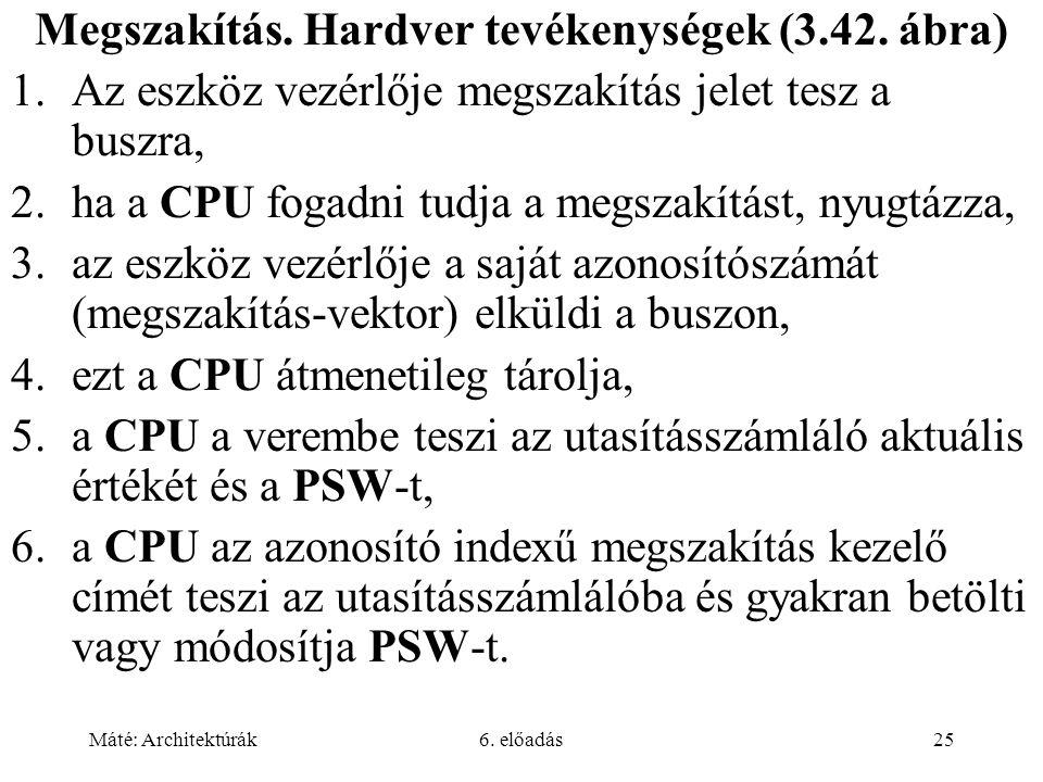 Máté: Architektúrák6. előadás25 Megszakítás. Hardver tevékenységek (3.42.
