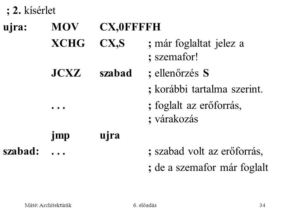Máté: Architektúrák6. előadás34 ; 2. kísérlet ujra:MOVCX,0FFFFH XCHGCX,S; már foglaltat jelez a ; szemafor! JCXZszabad; ellenőrzés S ; korábbi tartalm