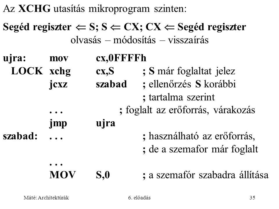 Máté: Architektúrák6. előadás35 Az XCHG utasítás mikroprogram szinten: Segéd regiszter  S; S  CX; CX  Segéd regiszter olvasás – módosítás – visszaí
