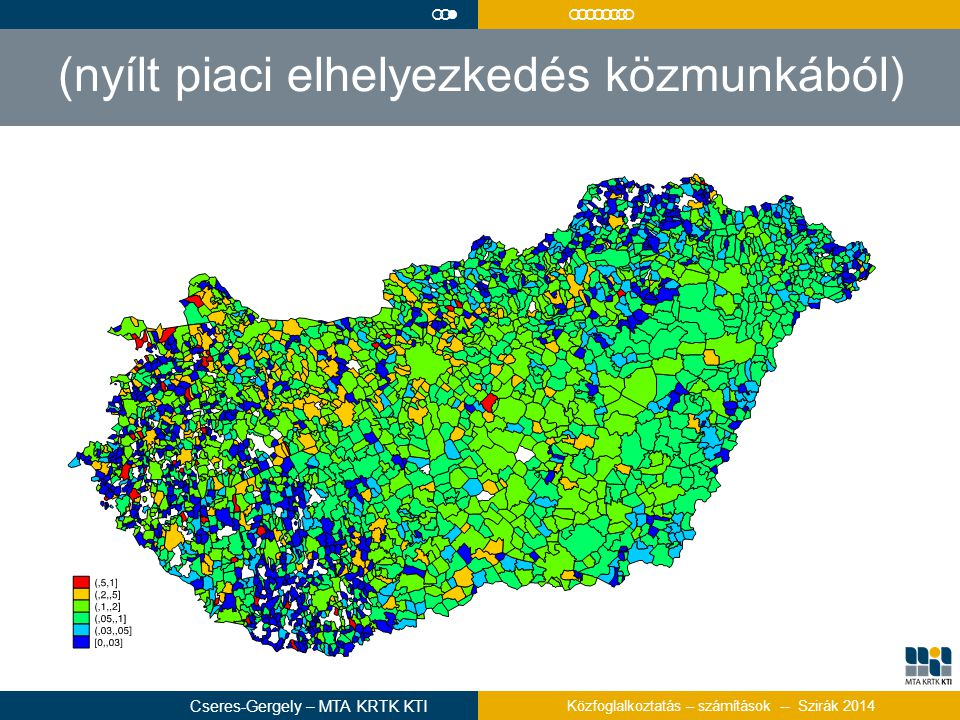 (nyílt piaci elhelyezkedés közmunkából)  Cseres-Gergely – MTA KRTK KTI Közfoglalkoztatás – számítások -- Szirák 2014