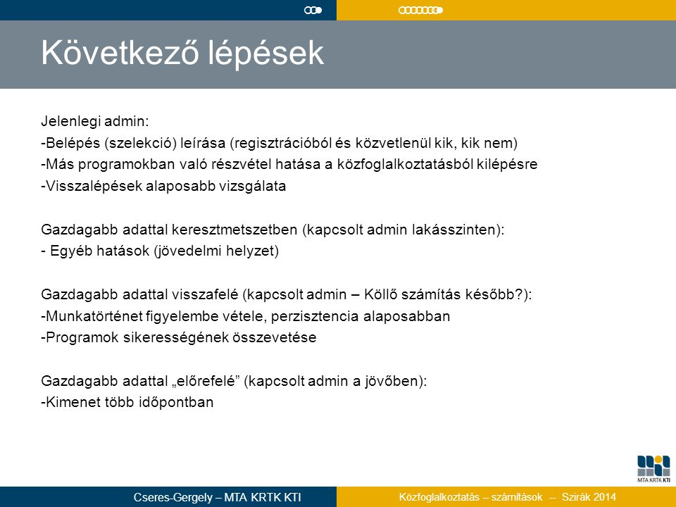Következő lépések Jelenlegi admin: -Belépés (szelekció) leírása (regisztrációból és közvetlenül kik, kik nem) -Más programokban való részvétel hatása