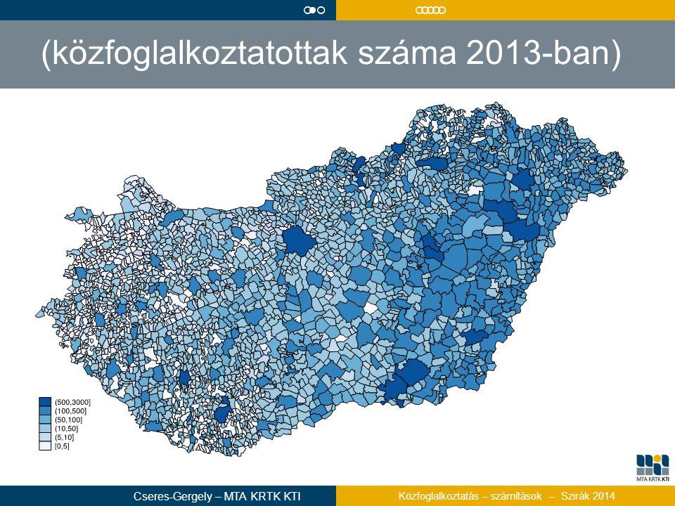(közfoglalkoztatottak száma 2013-ban)  Cseres-Gergely – MTA KRTK KTI Közfoglalkoztatás – számítások -- Szirák 2014