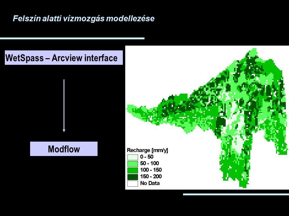 Felszín alatti vízmozgás modellezése WetSpass – Arcview interface Modflow