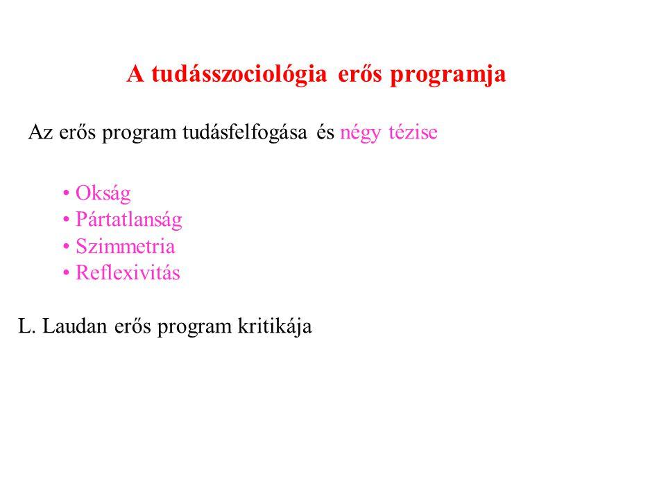 A tudásszociológia erős programja Az erős program tudásfelfogása és négy tézise Okság Pártatlanság Szimmetria Reflexivitás L.
