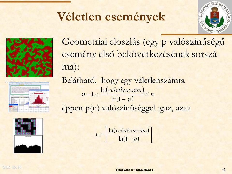 ELTE Véletlen események Geometriai eloszlás (egy p valószínűségű esemény első bekövetkezésének sorszá- ma): Belátható, hogy egy véletlenszámra éppen p(n) valószínűséggel igaz, azaz 2015.