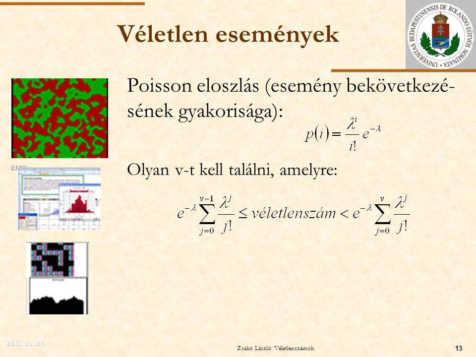 ELTE Véletlen események Poisson eloszlás (esemény bekövetkezé- sének gyakorisága): Olyan v-t kell találni, amelyre: 2015.