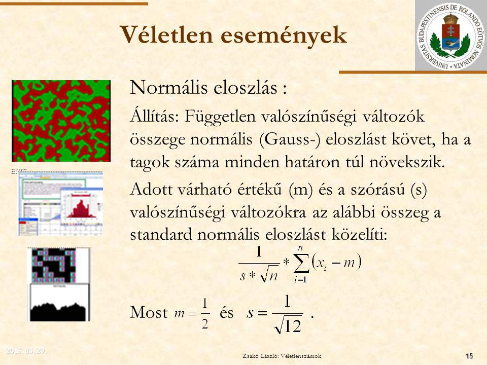 ELTE Véletlen események Normális eloszlás : Állítás: Független valószínűségi változók összege normális (Gauss-) eloszlást követ, ha a tagok száma minden határon túl növekszik.