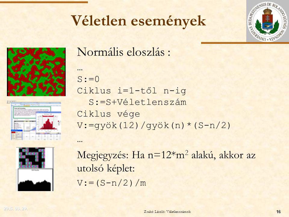 ELTE Véletlen események Normális eloszlás : … S:=0 Ciklus i=1-től n-ig S:=S+Véletlenszám Ciklus vége V:=gyök(12)/gyök(n)*(S-n/2) … Megjegyzés: Ha n=12*m 2 alakú, akkor az utolsó képlet: V:=(S-n/2)/m 2015.