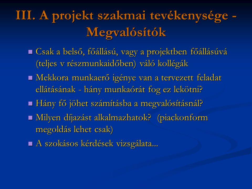 III. A projekt szakmai tevékenysége - Megvalósítók Csak a belső, főállású, vagy a projektben főállásúvá (teljes v részmunkaidőben) váló kollégák Csak