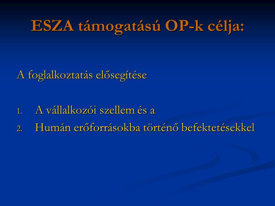 ESZA támogatású OP-k célja: A foglalkoztatás elősegítése 1.