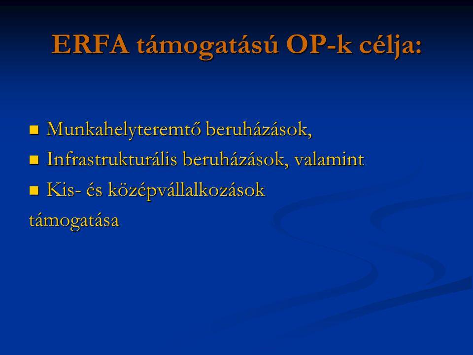 ERFA támogatású OP-k célja: Munkahelyteremtő beruházások, Munkahelyteremtő beruházások, Infrastrukturális beruházások, valamint Infrastrukturális beruházások, valamint Kis- és középvállalkozások Kis- és középvállalkozásoktámogatása